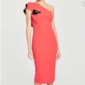 Rachel Roy   Red Single Shoulder Ruffle Dress